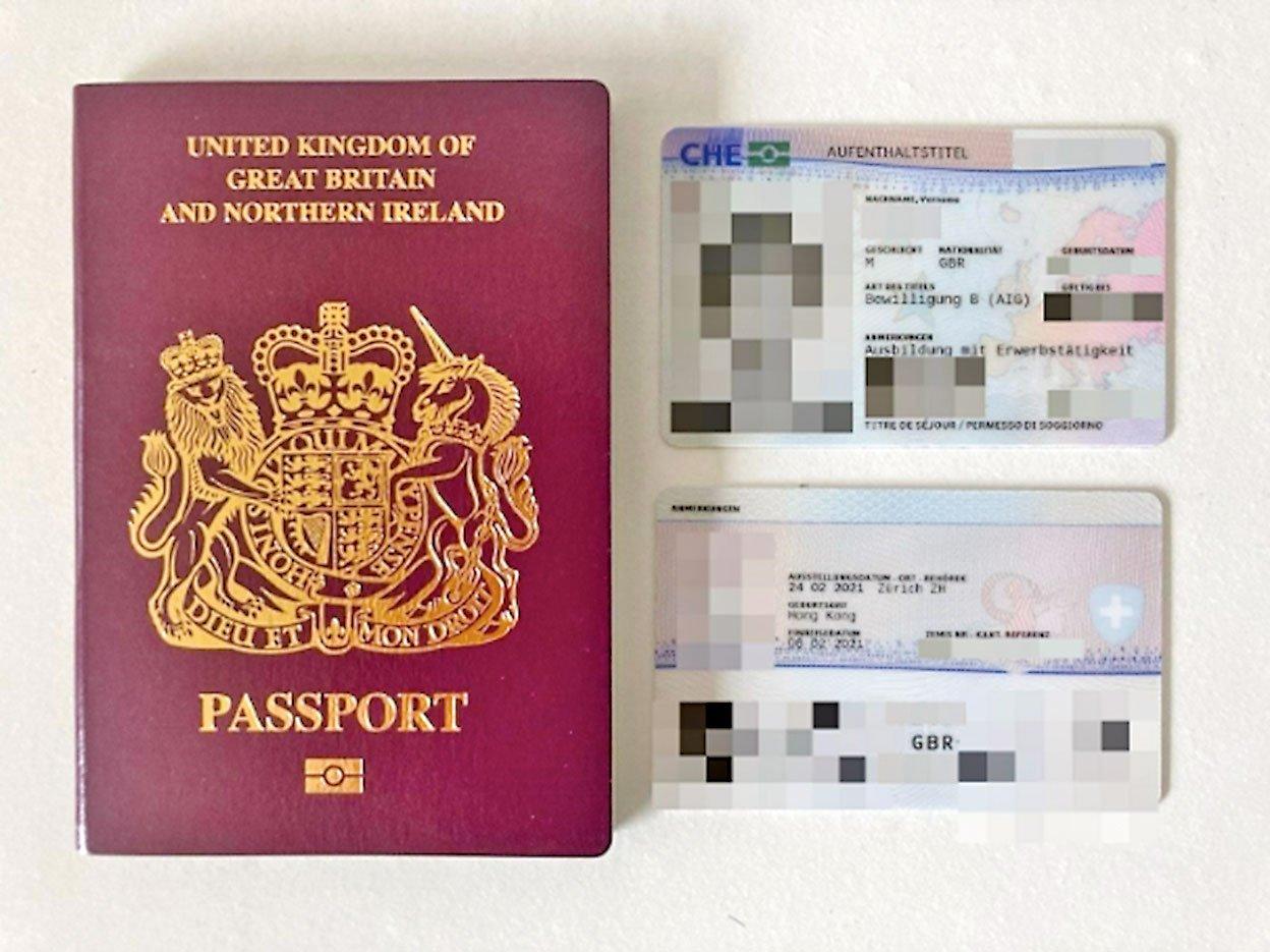 這對90後夫妻均以BNO持有人在蘇黎世定居。脫歐後,二人的瑞士居留證上印有英國籍。(受訪者提供)