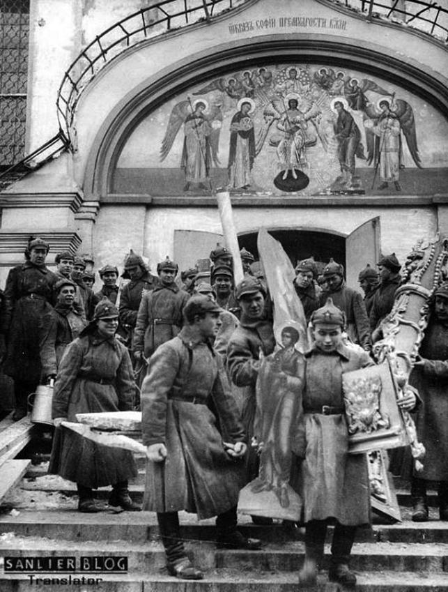 20年代,蘇聯大量教會財產被劫掠、教堂和修道院被關閉。(網絡圖片)