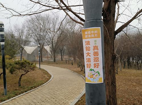 大陸法輪功學員在石家莊一處公園黏貼不乾膠,傳播避疫良方「九字真言」。(明慧網)