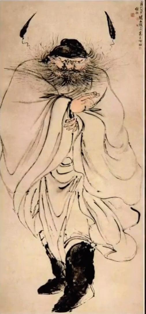 這幅指畫《怒容鍾馗圖》是高其佩68歲時的作品。(未解之謎影片截圖)