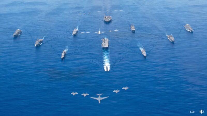 軍事圍堵中共 五國航母戰艦兵分六路集結太平洋