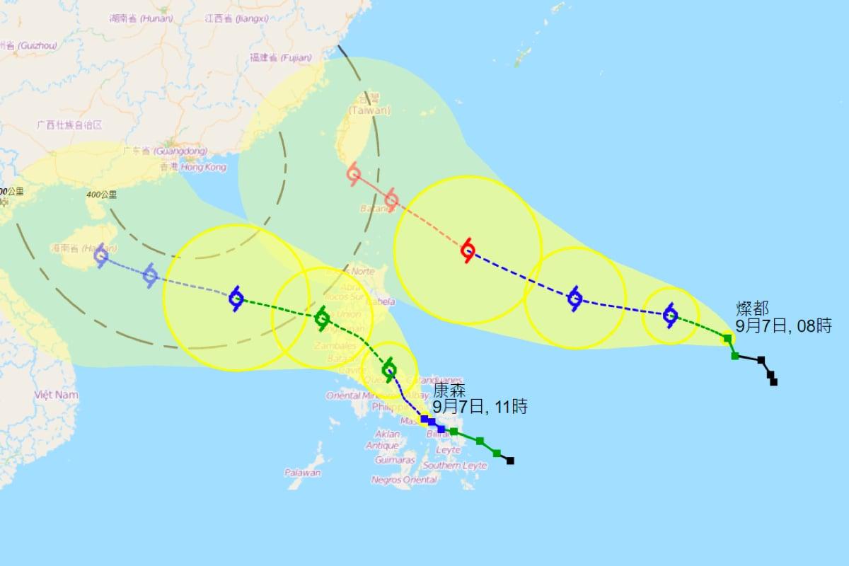 雙氣旋逼近華南,「康森」9月11日最接近香港,「燦都」則移向台灣。(香港天文台)