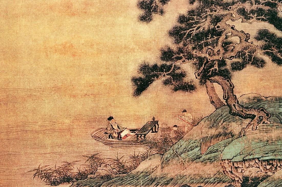 元‧佚名《扁舟傲睨圖》(局部),圖中老翁撫琴,童子烹茶。(公有領域)