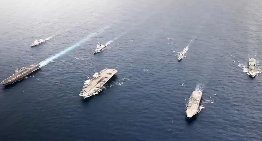 英航母首度停靠日本 與日韓美荷加演訓