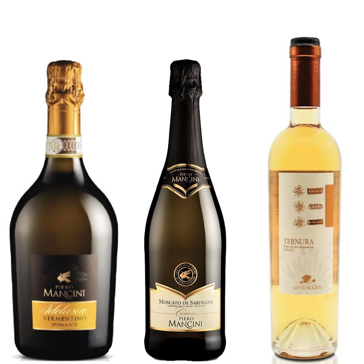 左起:氣泡酒 Piero Mancini Adelasia Spumante Brut($250),甜酒Cantina del Mandrolisai Ternura($330),Piero Mancini Moscato di Sardegna Gallura DOC Spumante($200), 任何3支9折,任何6支8折。
