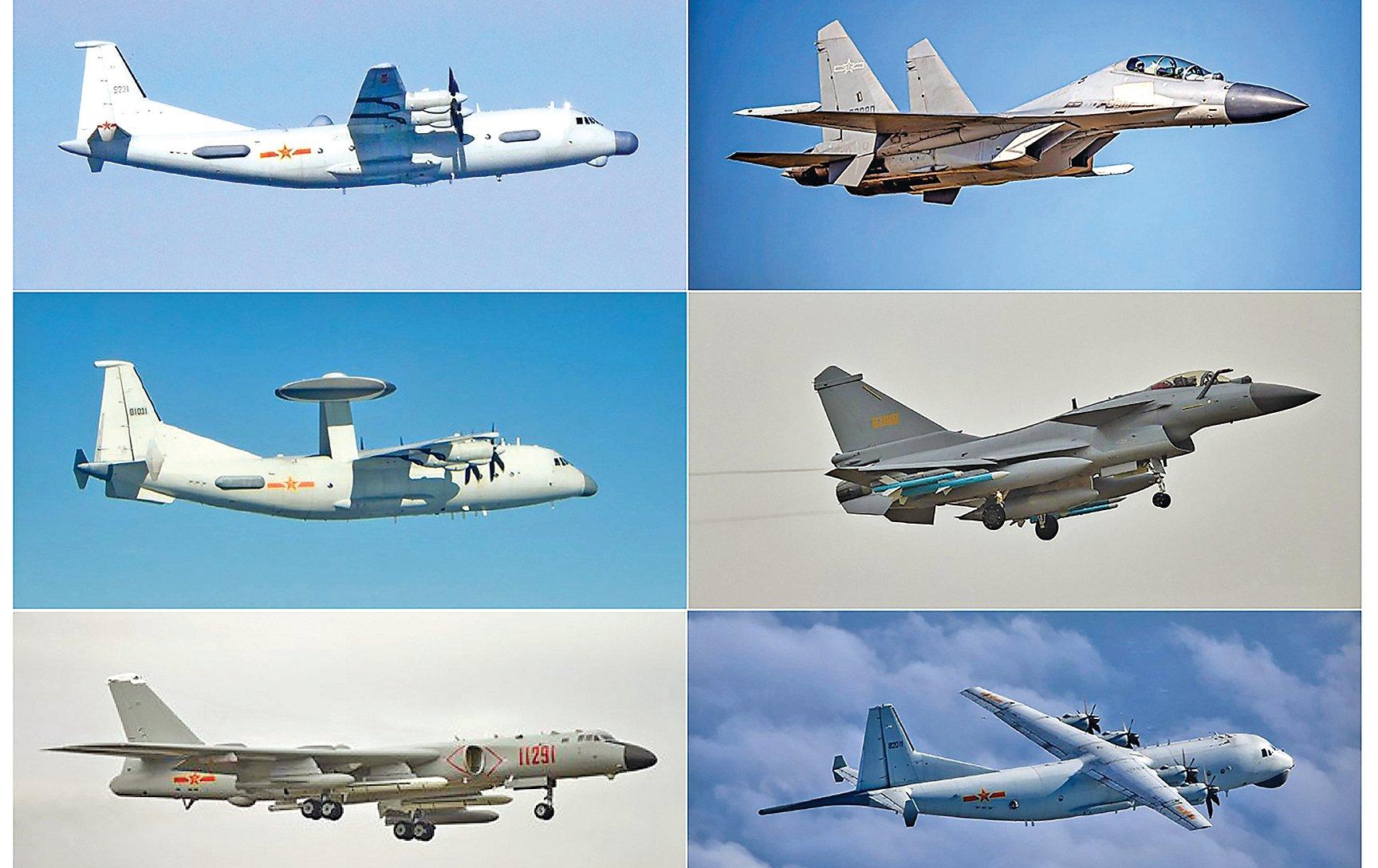 中共近年挾著經濟及軍事力量對周邊國家不斷擴權,企圖以恫嚇或威懾手段達成其外交或軍事目的。6月15日,在G7和北約相繼強硬表態後,中共出動28架軍機企圖恐嚇台灣,包括14架殲16戰機(右上)、6架殲11戰機(右中)、1架運8反潛機(右下)、1架運8電子干擾機(左上)、2架空警500預警機(左中)及4架轟6轟炸機(左下)。(台灣國防部)