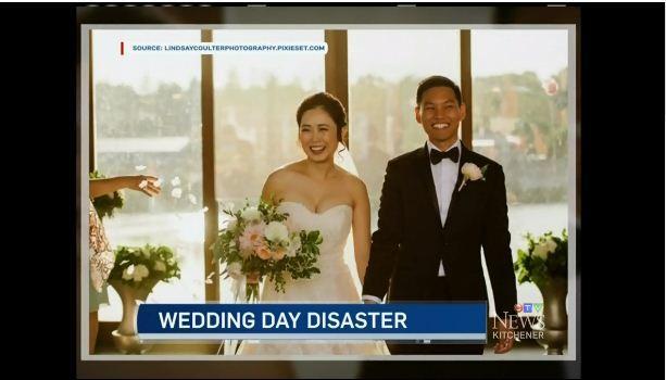 加拿大華裔新娘杜喬在婚禮當天婚紗拉鍊壞了,隔壁的敘利亞難民裁縫伸出援手,讓婚禮如期舉行。(CTV視頻截圖)