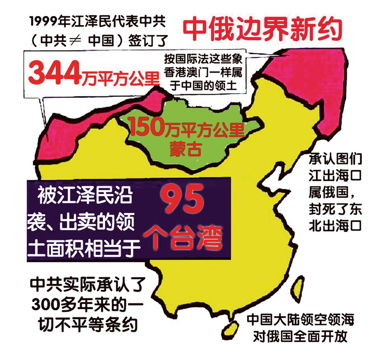 江澤民與俄國簽訂議定書、條約出賣中國國土。(明慧網)