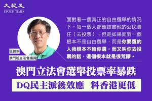 區錦新:澳門立法會選舉投票率暴跌  DQ民主派後效應  料香港更低