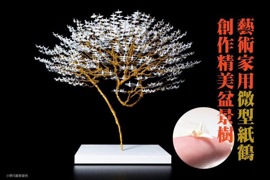 藝術家用微型紙鶴創作精美盆景樹
