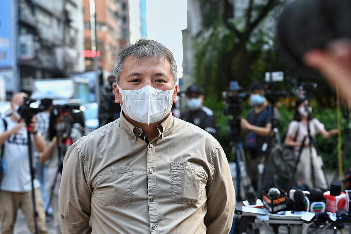 記協主席陳朗昇昨日會見傳媒,反駁保安局長鄧炳強的批評。(宋碧龍/大紀元)