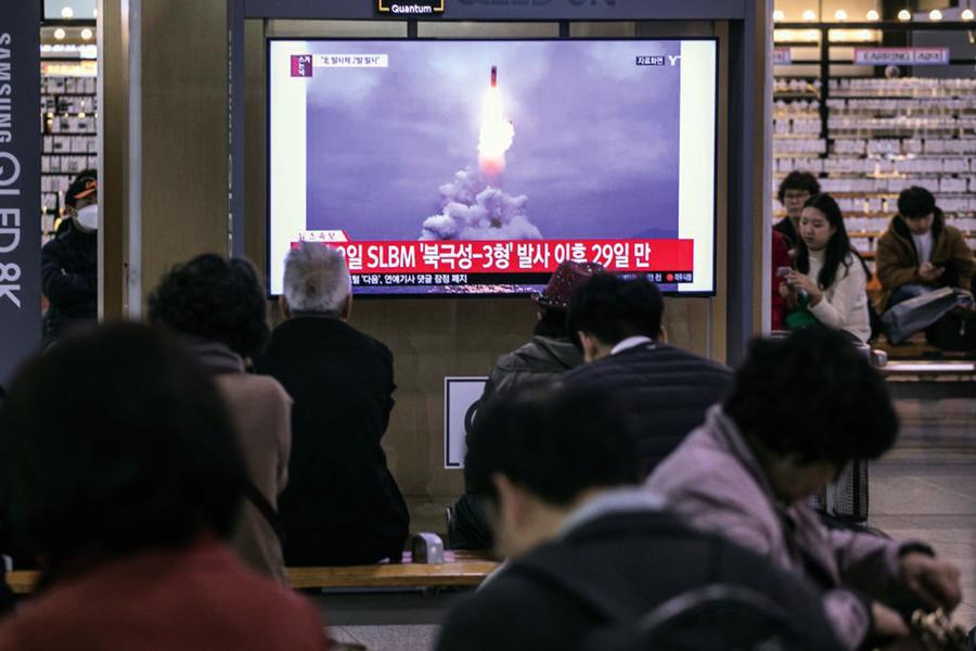 南韓軍方:北韓發射兩枚彈道導彈