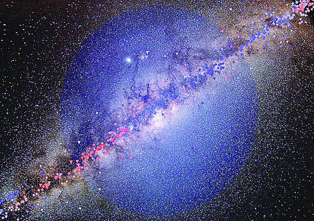 銀河系已發生巨變。圖中藍色球形光暈為暗物質。(NASA)