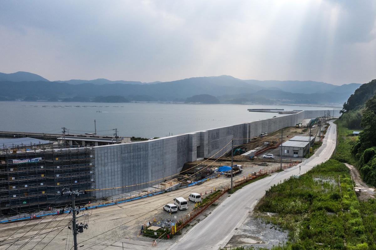 3.11大地震後,日本政府加強建築大形海牆。(Carl Court/Getty Images)