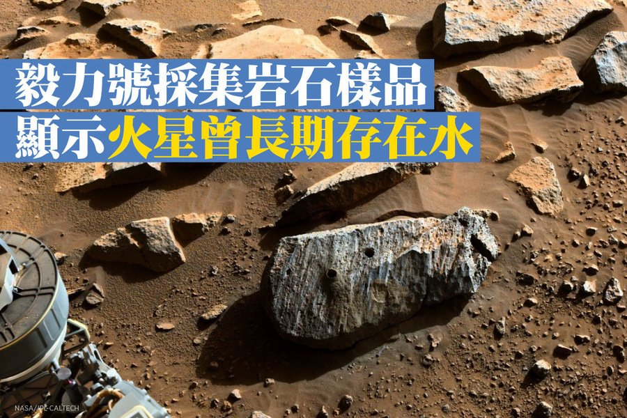 毅力號採集岩石樣品 顯示火星曾長期存在水