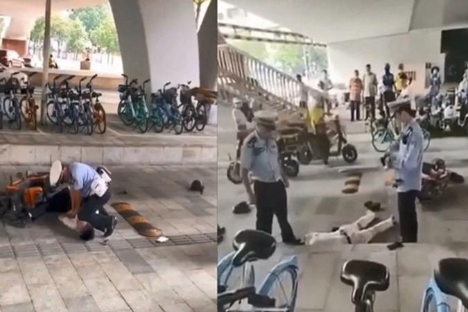 廣州警察路邊暴力執法的片段引發輿論廣泛關注。(視頻截圖)
