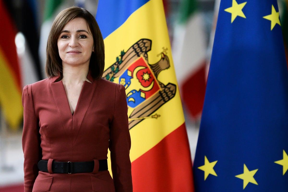 2021 年 1 月 18 日,摩爾多瓦總統馬婭•桑杜布魯塞爾出席歐洲理事會。(JOHANNA GERON/POOL/AFP)