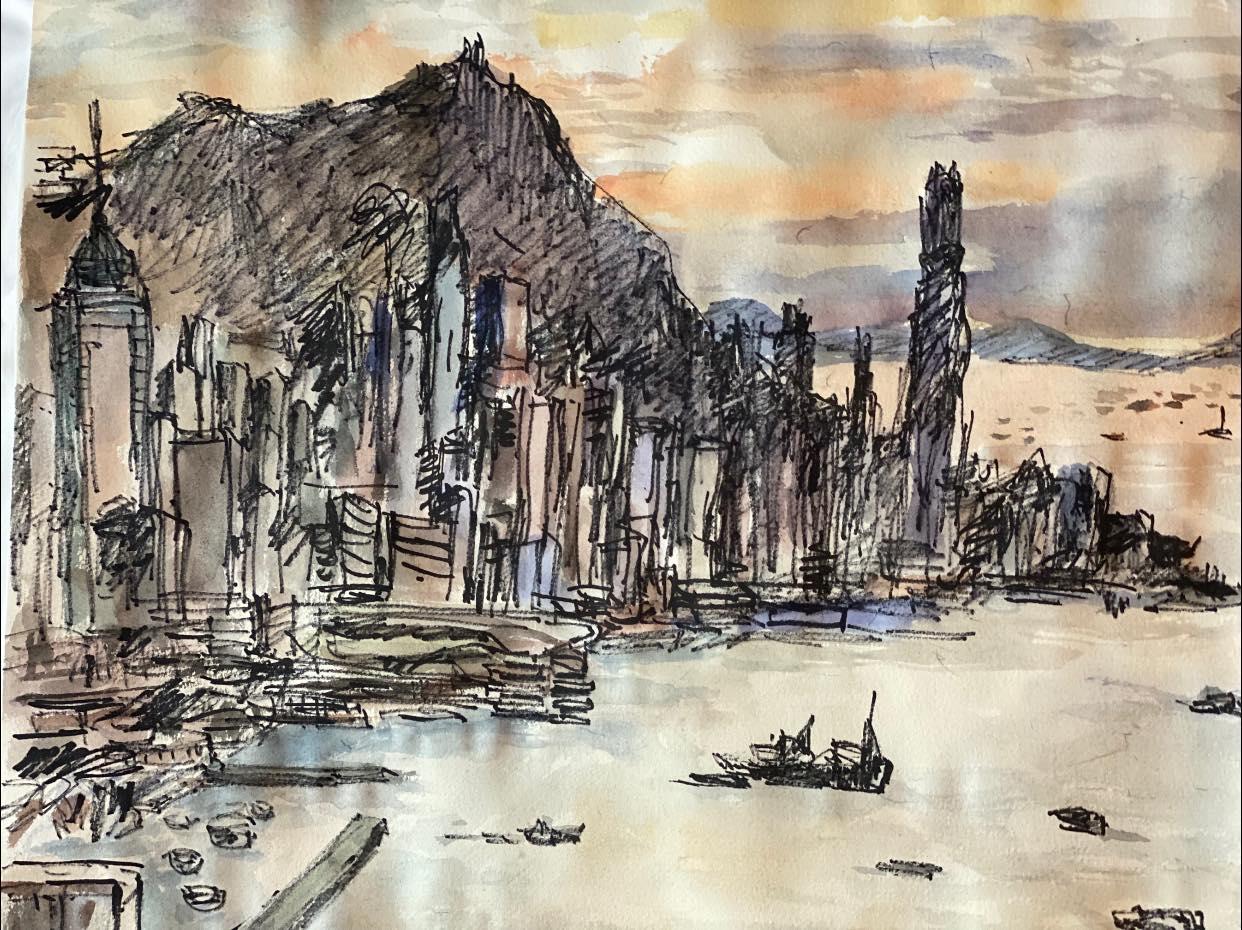 陶傑於離港前所畫的維多利亞港黃昏的光明頂(陶傑 Facebook 截圖)