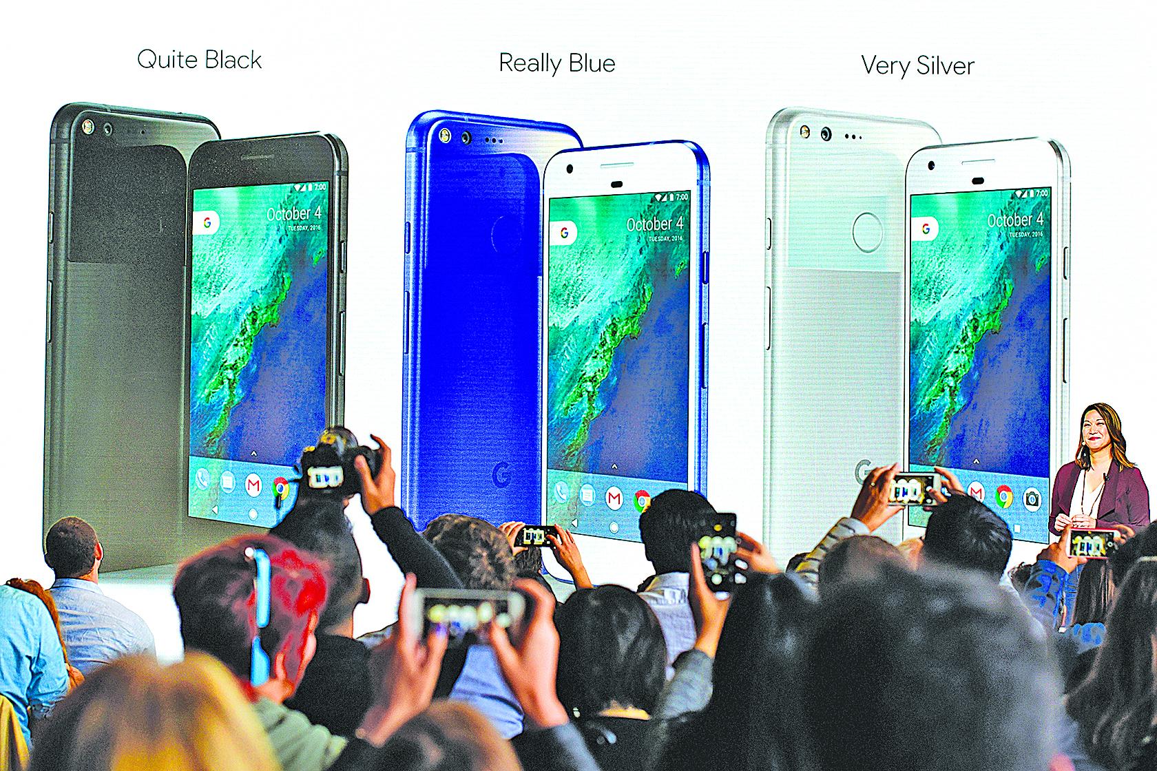 谷歌10月4日推出功能強大的智能手機Pixel,旨在挑戰蘋果iPhone的高端手機地位。圖為谷歌新品發佈會現場。(大紀元資料室)