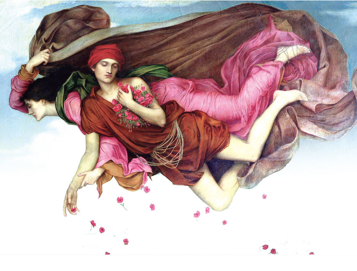 [英]伊夫林‧德摩根(Evelyn de Morgan,1855~1919),《夜與睡眠》局部圖(Night and Sleep),1878年作,布面油畫,157×107 cm,私人收藏。(Spencer Pickering; Mrs Stirling; De Morgan Foundation)