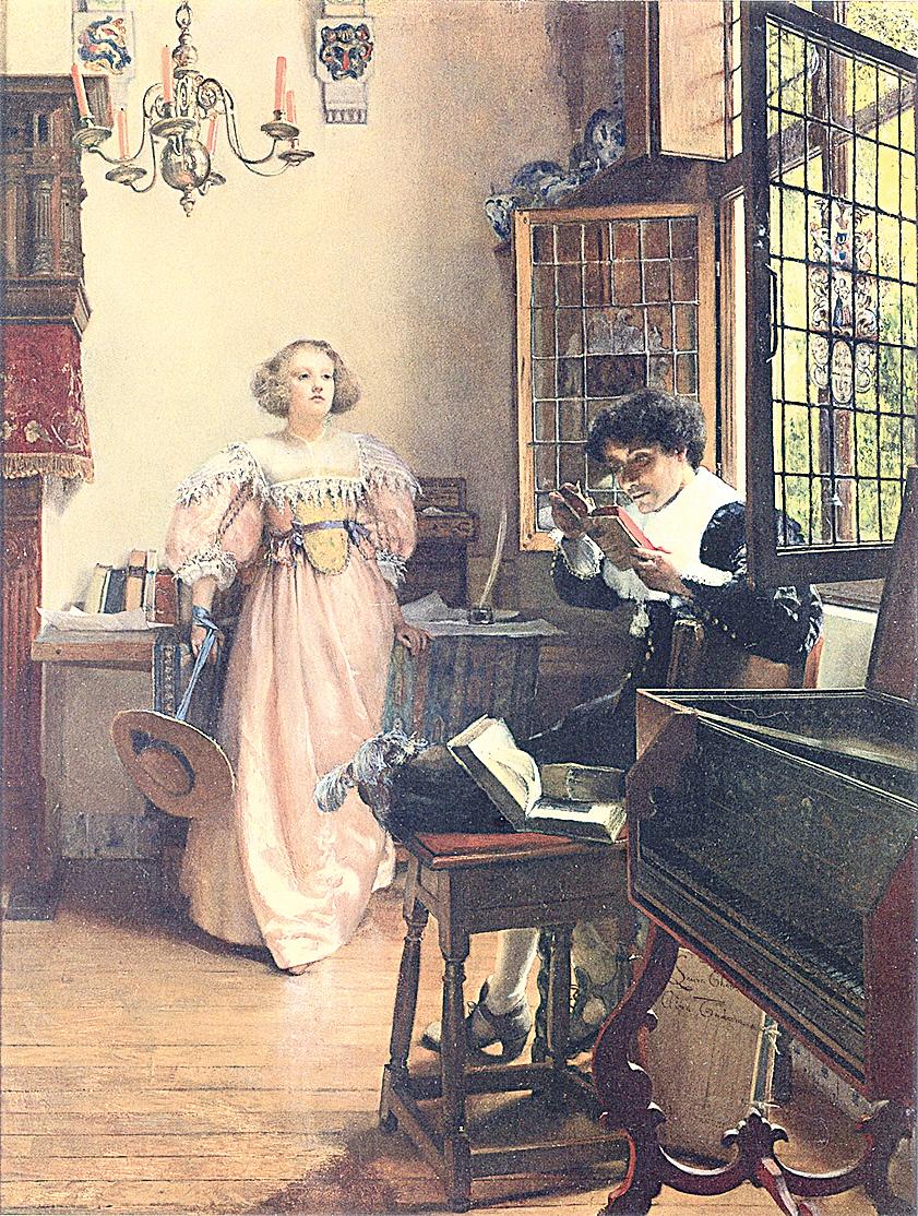 [英]勞拉‧特里莎‧阿爾瑪-塔德瑪夫人(Lady Laura Teresa Alma-Tadema, 1852~1909),《執著的閱讀者》(The Persistent Reader),年代不詳,板上油畫,44.45×58.42cm。(公有領域)