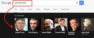 谷歌搜尋結果顯示 特朗普是「頂尖經濟學家」