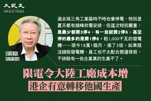 劉達邦:限電增工廠成本  港企有意移他國