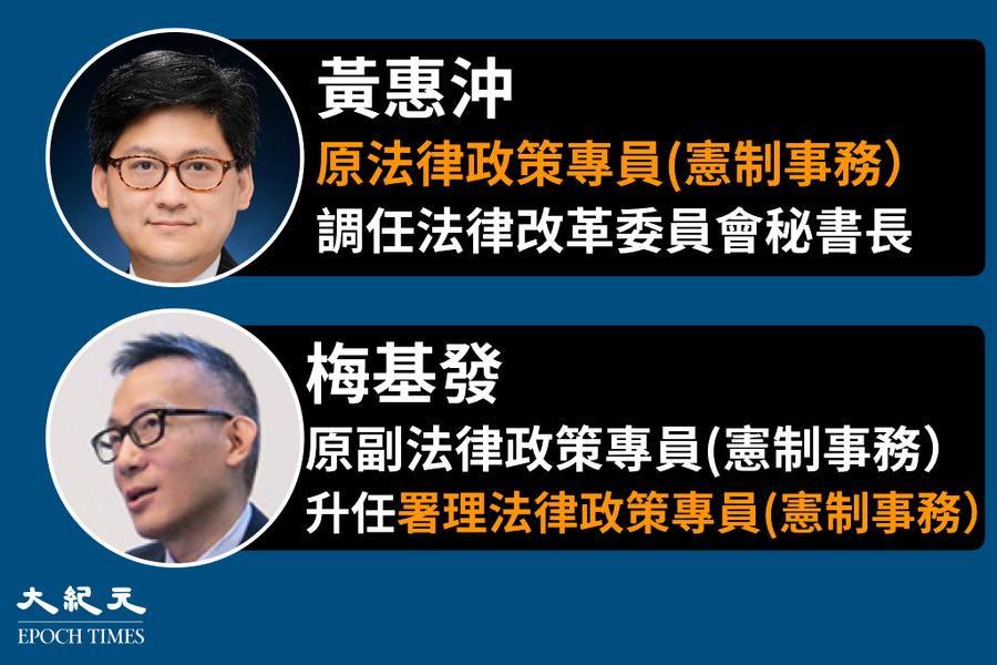 黃惠沖調任法改會秘書長 梅基發署理法律政策專員