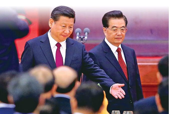 2014年9月30日,習近平與胡錦濤一起參加中共「十一」招待會。(Getty Images)