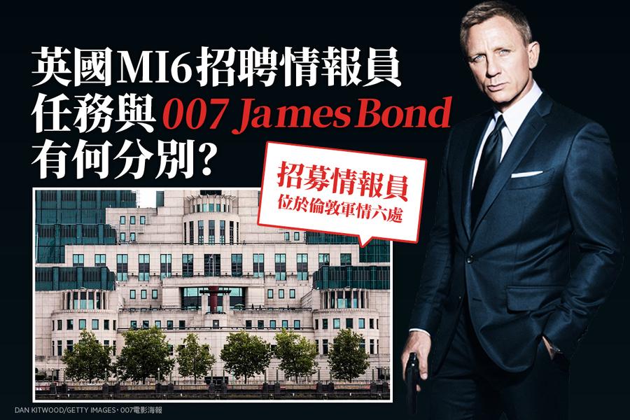 英國MI6招聘情報員 任務與《007》James Bond有何分別?