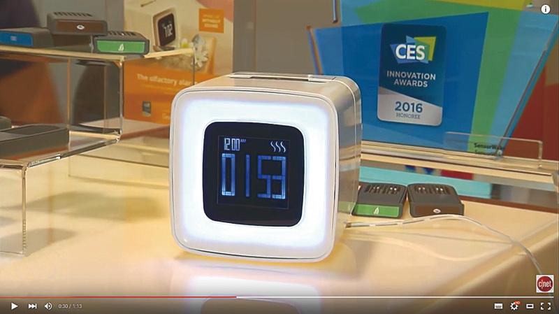 香味鬧鐘的外形似麵包機。(視頻截圖)