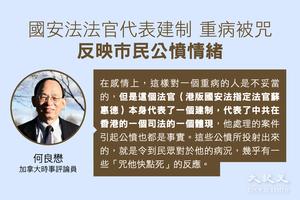 何良懋:國安法法官重病被咒 反映市民公憤情緒
