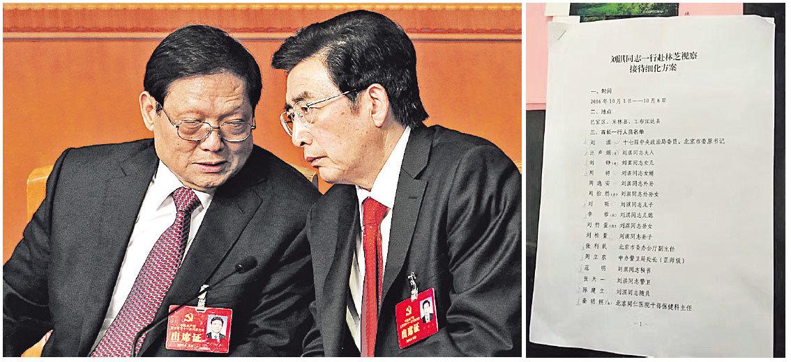 █前中共北京市委書記劉淇(左)近日攜一家3代及警衛、秘書、保健醫生等共16人,「視察」西藏林芝市的名單(右)被曝光。(Getty Images、網絡圖片)