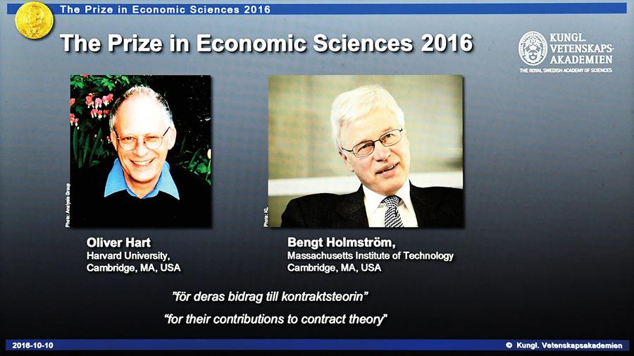 諾貝爾經濟學獎兩學者共享