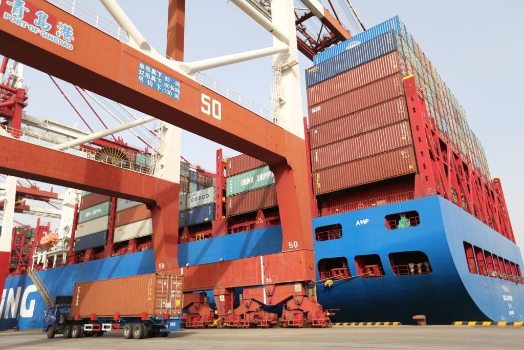 大陸今(10月13日)公布9月出口按年增加28.1%。(VCG/VCG via Getty Images)