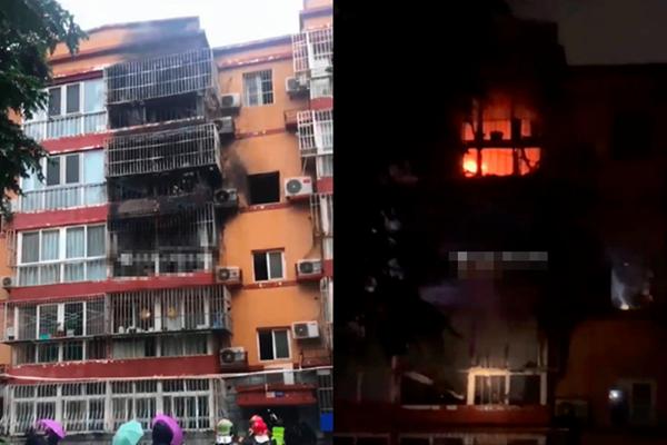 今年1-7月,中國電動自行車所引起的火災多達6462起。圖為9月20日北京通州區一住戶將鋰電池帶回家中充電,結果電池爆炸起火。(視頻截圖)