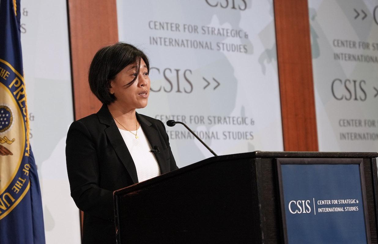 圖為10月4日,戴琪在戰略與國際研究中心(CSIS)演講,介紹拜登政府「處理中美貿易關係的新方法」(New Approach to the U.S.–China Trade Relationship)。(美國貿易代表辦公室)