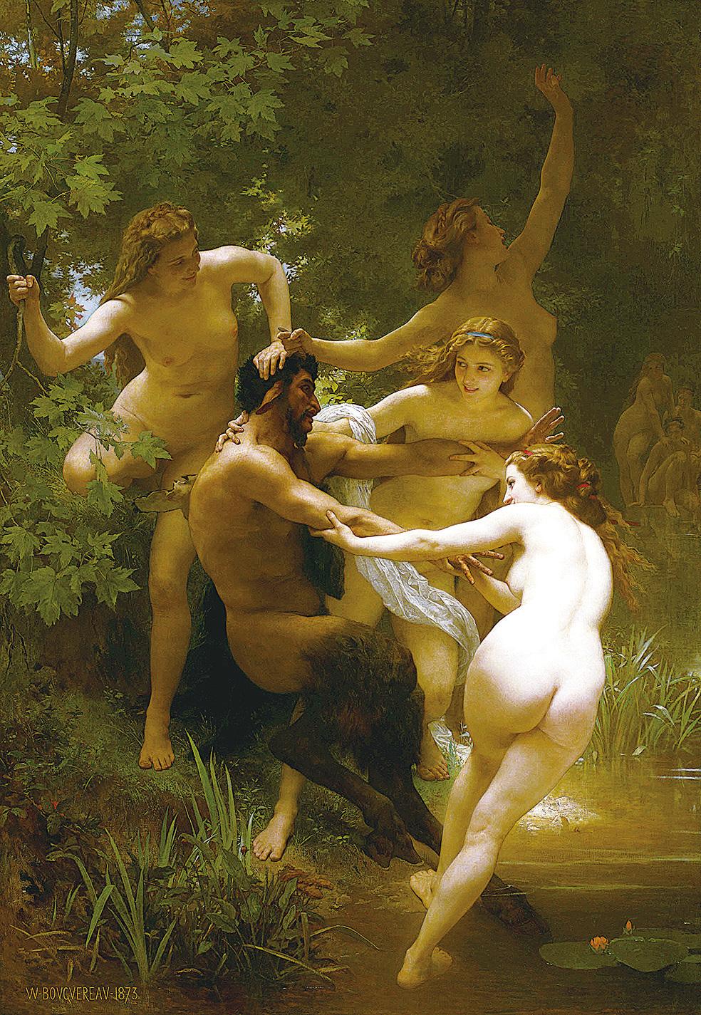 [法]威廉—阿道夫‧布格羅(William-Adolphe Bouguereau),《寧芙與薩提爾》(Nymphes et Satyre,又譯:仙女們與森林之神),布面油畫,1873年作。(斯特林和弗朗辛‧克拉克藝術研究院/藝術復興中心提供)