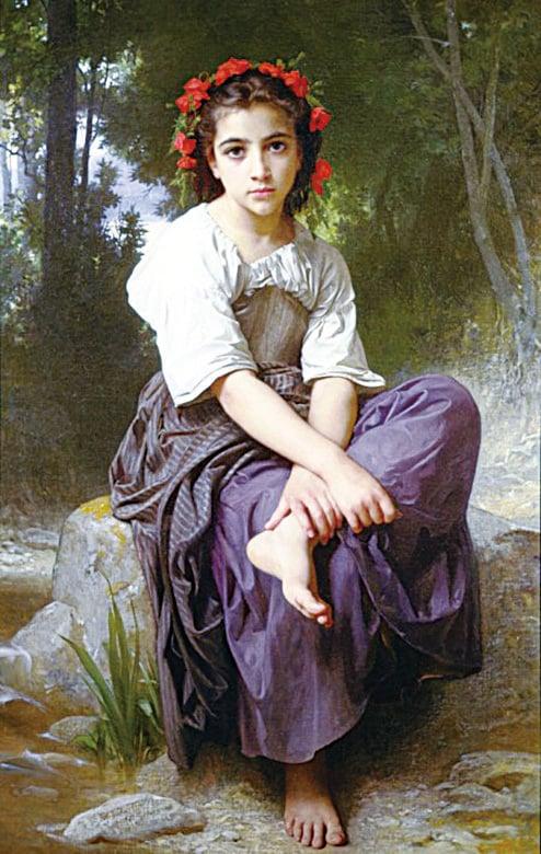 [法]威廉—阿道夫‧布格羅(William-Adolphe Bouguereau),《小溪畔》(Au Bord du Ruisseau),布面油畫,1875年作。(藝術復興中心提供)