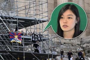 雅典爆杯葛北京冬奧抗議  邵嵐聖火會場掛「光時」旗被捕