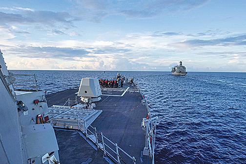 美加軍艦聯合通過台灣海峽