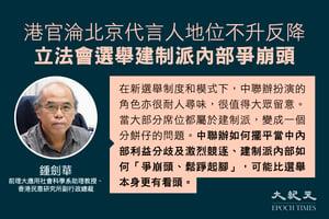 鍾劍華:港官淪北京代言人地位不升反降 立法會選舉建制派內部爭崩頭