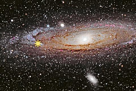 巨型「遊蕩」黑洞(黃色星狀)構想圖。(維基百科)