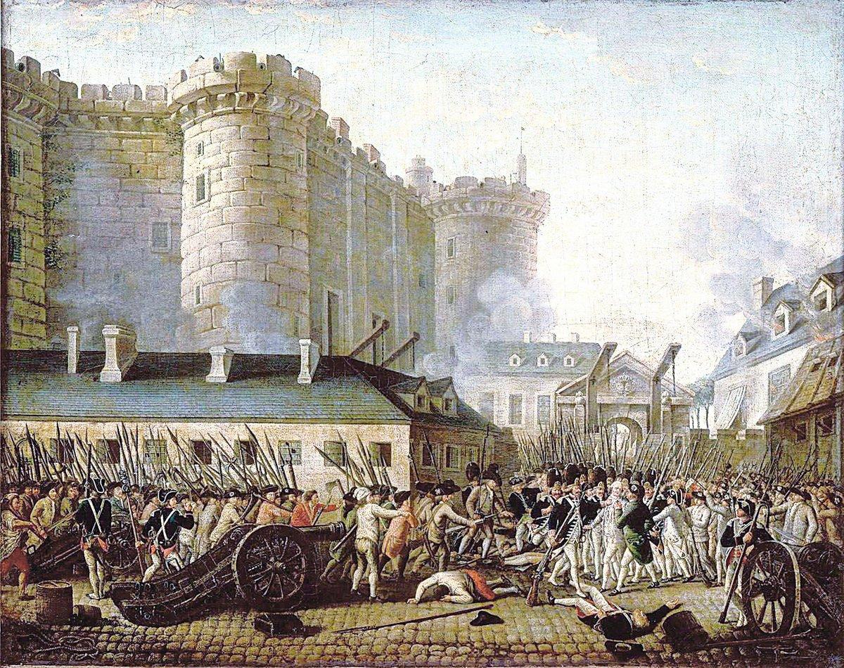 法國大革命油畫攻佔巴士底監獄。(維基百科)