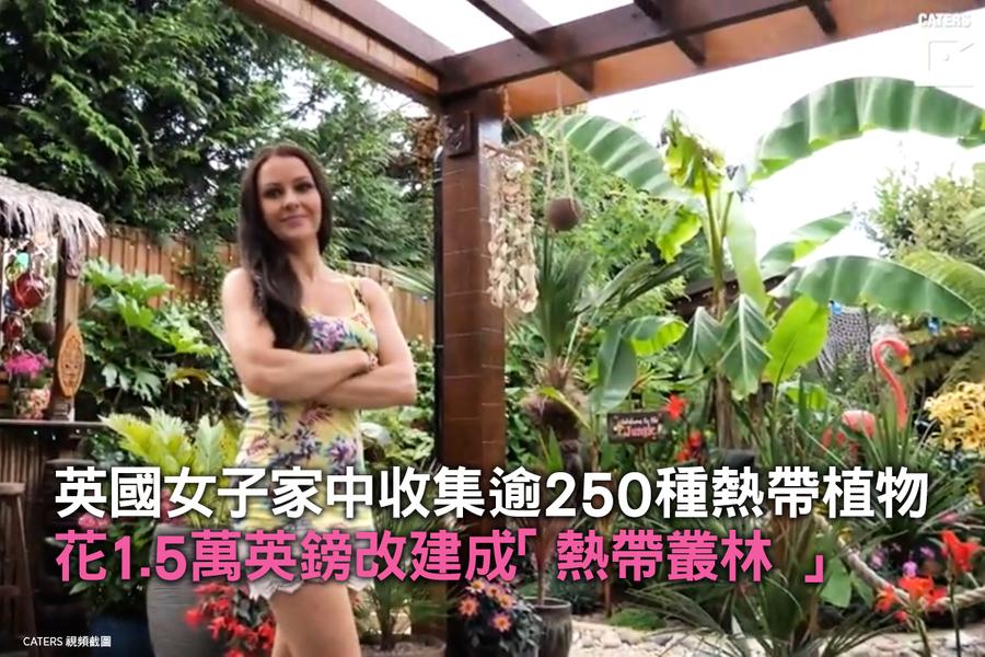 英國女子家中收集逾250種熱帶植物 花1.5萬英鎊改建成「熱帶叢林 」
