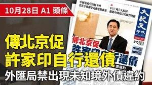 【A1頭條】傳北京促許家印自行還債 外匯局禁出現未知境外債違約