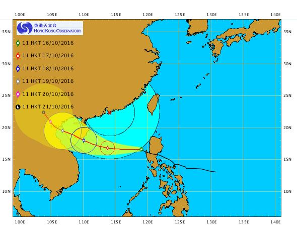 今日上午11時,颱風莎莉嘉的位置在北緯16.6度,東經119.1度,即香港之東南約820公里處,中心附近最高持續風速達到每小時140公里。(香港天文台網頁)