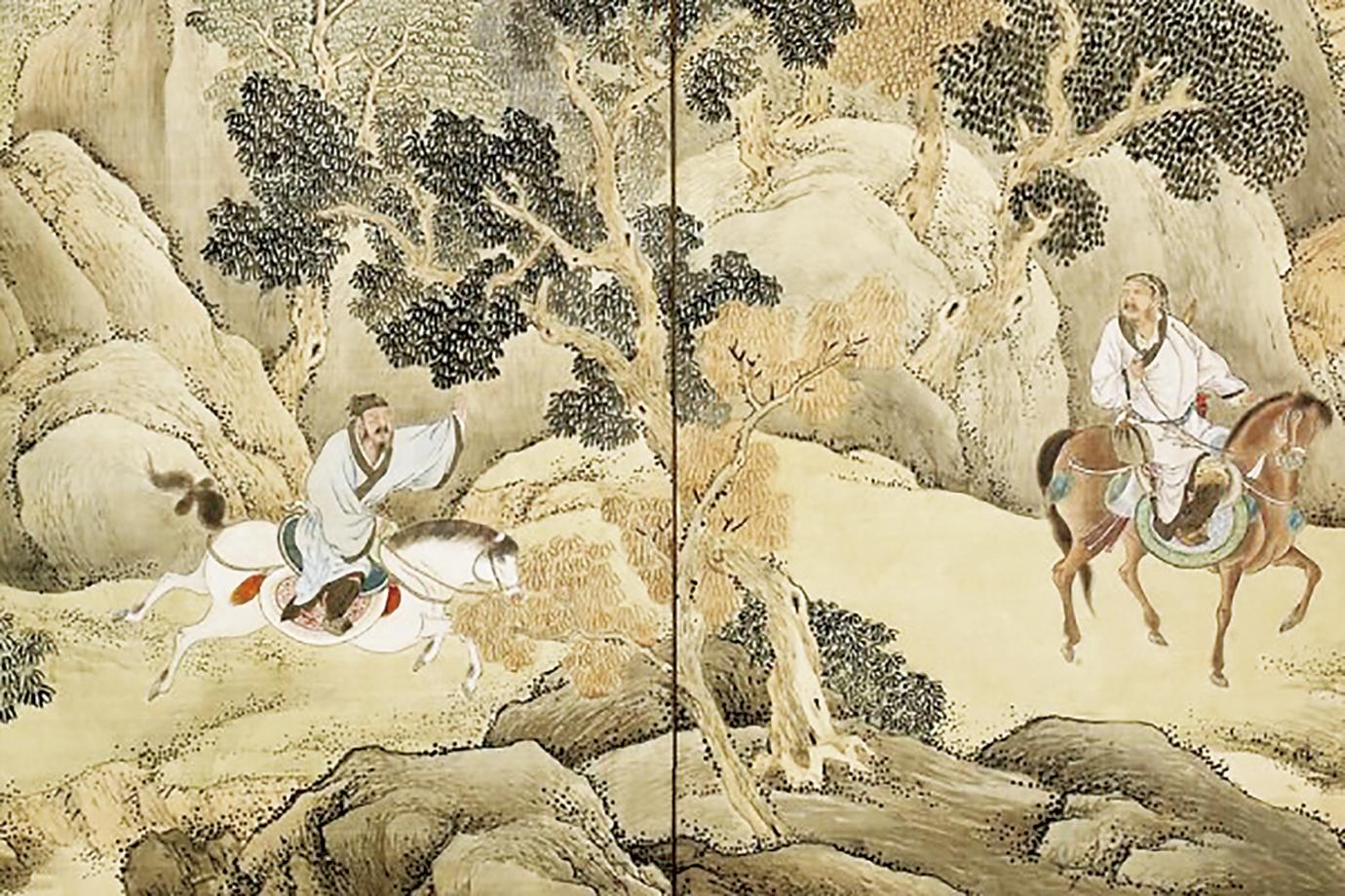 《蕭何追韓信圖》(局部),日本江戶時代畫家與謝蕪村繪,京都野村美術館藏。(公共領域)