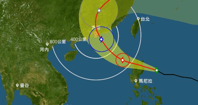 天文台表示,熱帶氣旋海馬將於明天(20日)早上橫過呂宋北部,進入南海,屆時天文台會發出一號戒備信號。(香港天文台網頁)
