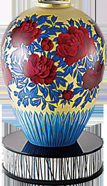 品名:「金彩牡丹文大花瓶」 番號 :Y53903/AC365 素材 :Bone China